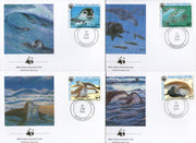 Mauritania 1986 WWF Monk seal Fish Marine Life Animals Sc 597-600 Set of 4 FDCs # 37 - Phil India Stamps