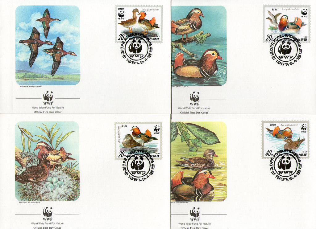 Korea 1987 WWF Water Birds Mandarin Duck Wildlife Sc 2679-82 Set of 4 FDCs # 54 - Phil India Stamps