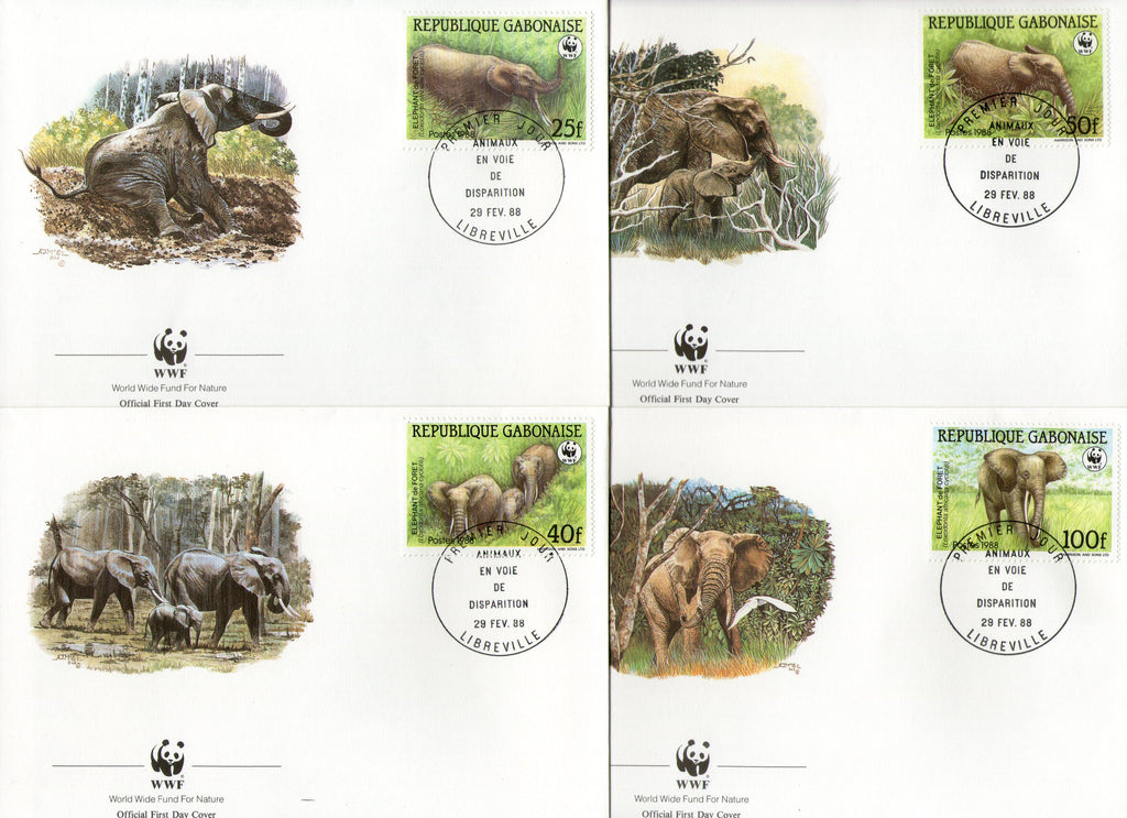 Gabon 1988 WWF African Elephant Sc 634-37 Wildlife Animal Fauna Mammals FDCs # 61 - Phil India Stamps