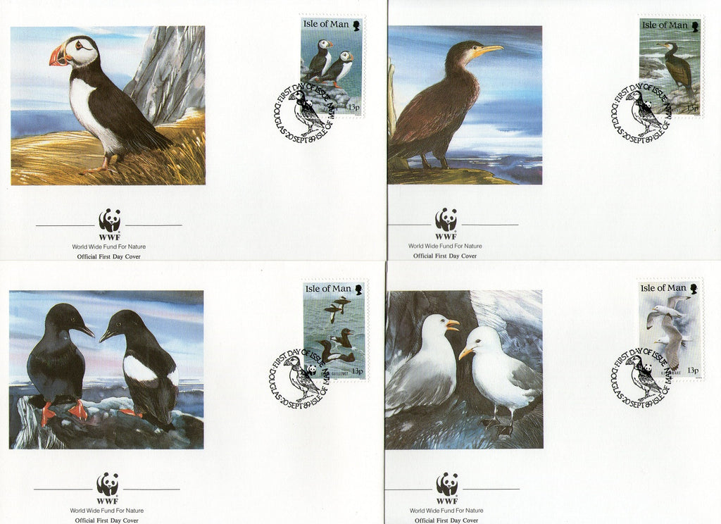 Isle of Man 1989 WWF Puffin Guillemot Kittiwak Sea Bird Wildlife Sc 399-402 FDCs # 86 - Phil India Stamps