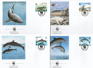 Guernsey 1990 WWF Gray Seal Marine Life Sc 441-44 Animal Fauna FDCs # 104 - Phil India Stamps