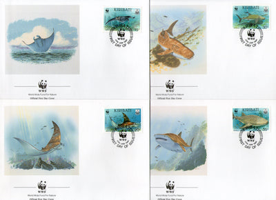 Kiribati 1991 WWF Whale Shark Mantra Ray Marine Life Animal Fauna 4 FDCs # 105 - Phil India Stamps