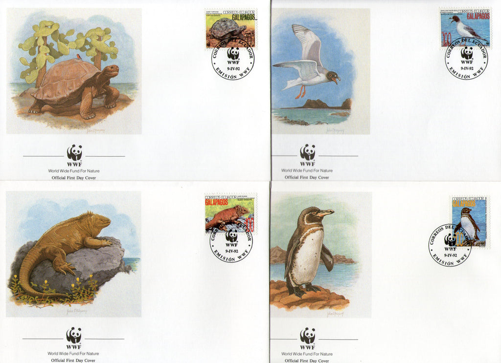 Ecuador 1992 WWF -Tortoise Penguin Wildlife Animal Fauna Sc 1281 FDCs Set # 125 - Phil India Stamps