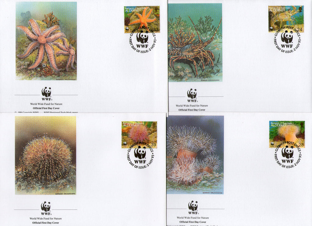 Alderney 1993 Star Fishes Lobster Marine Life Corals Fauna Sc 69 WWF FDCs # 152 - Phil India Stamps