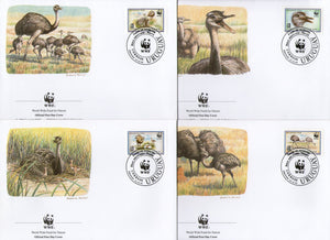 Uruguay 1993 WWF Greater Rhea Flightless Bird Wildlife Fauna Sc 1509-12 FDCs Set # 156 - Phil India Stamps