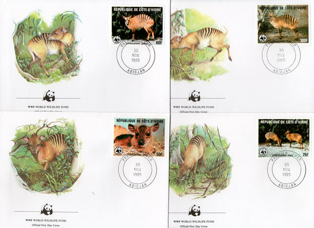 Ivory Coast 1985 WWF Zebra duiker Antelope Deer Wildlife Animal Fauna 4 FDCs # 31 - Phil India Stamps