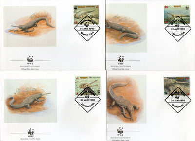 Bangladesh 1990 WWF Gharial Reptiles Amphibians Fauna Sc 340-43 Wildlife Animals FDCs # 90 - Phil India Stamps