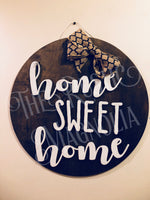 "Personalized 20"" large Circle  - Home Sweet Home door hanger  -  double layer  door decor  wood sign  custom Wood sign - Rustic Magnolia Company"