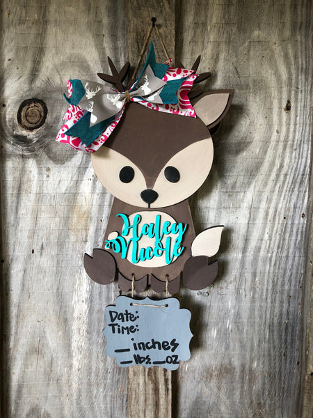 Baby hospital door hanger - baby announcement sign - baby stats baby girl - baby boy - nursery decor wood sign 3D layered  - woodland decor - Rustic Magnolia Company