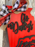 "22"" wood UGA Georgia bulldogs door hanger  - double layered laser cut  - wood sign door hanger football - Rustic Magnolia Company"