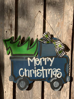 Vintage blue truck with christmas tree door hanger - christmas door hanger - wood - seasonal - truck door hanger -Painted door hangers - - Rustic Magnolia Company