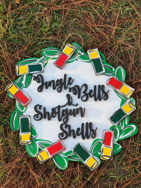 Jingle Bells shotgun shells door hanger - Christmas door hanger - double layer  door decor  wood sign  custom Wood sign