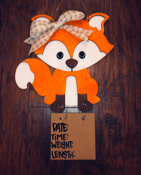 Baby hospital door hanger - Baby Shower Gift - Baby Stats Sign - fox baby nursery - decor wood sign - 3d fox layered   - woodland animals - Rustic Magnolia Company