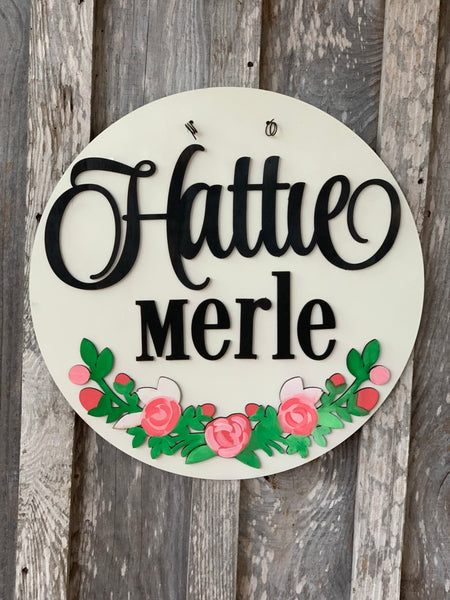 "20"" Floral Baby Door Hanger - Hospital Door Hanger with details - Baby Announcement Sign - Baby Shower Gift - Baby Stats Sign - farmhouse - Rustic Magnolia Company"