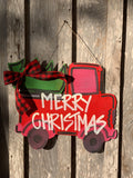 Vintage red truck with christmas tree door hanger - christmas door hanger - wood - seasonal - truck door hanger -Painted door hangers - - Rustic Magnolia Company