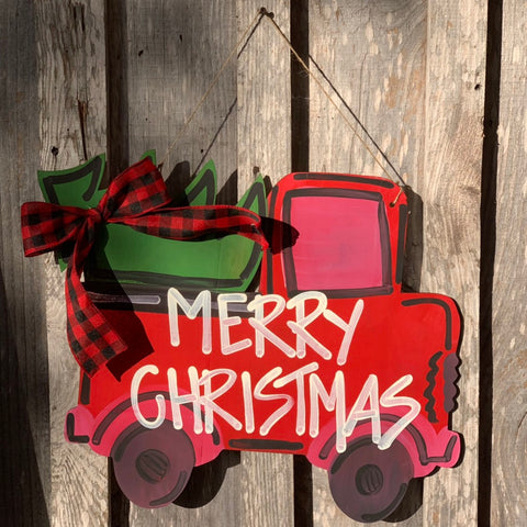 Vintage red truck with christmas tree door hanger - christmas door hanger - wood - seasonal - truck door hanger -Painted door hangers -