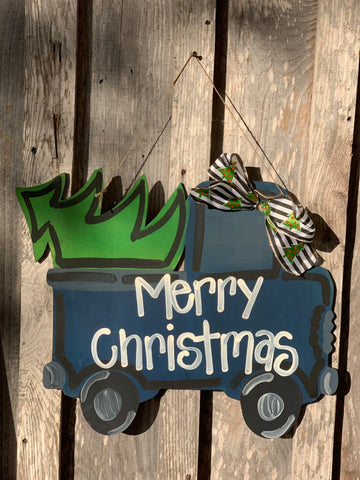 Vintage blue truck with christmas tree door hanger - christmas door hanger - wood - seasonal - truck door hanger -Painted door hangers -