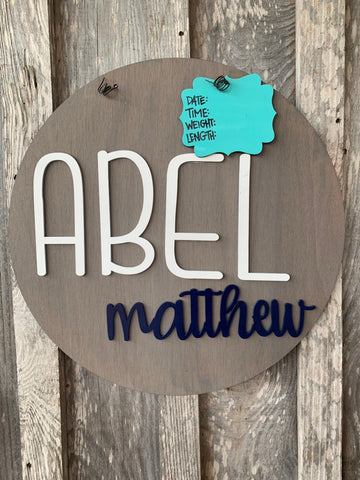 "20"" Rustic New Baby Boy Door Hanger - Hospital Door Hanger - Baby Announcement Sign - Baby Shower Gift - farmhouse Nursery - baby stats"