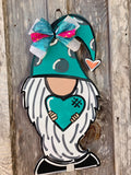 "Gnome door hanger  - 22"" - Valentines decor - Gnomeo - Garden Gnome - hearts - Wood sign - Rustic Magnolia Company"