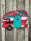 Happy camper door hanger  - motor home decor - summer  - home - door decor  - camping wood sign  custom Wood sign - Rustic Magnolia Company