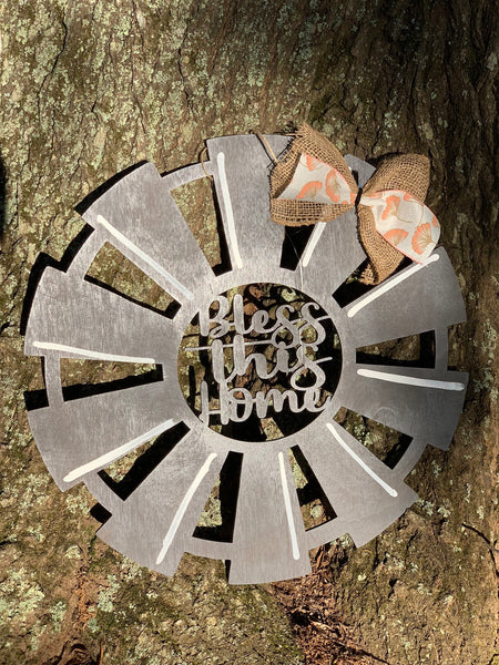 "Windmill bless this home door hanger  - 20"" - spring door decor - farmhouse - Wood sign - rustic - Rustic Magnolia Company"