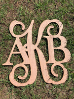 Unfinished Blank mixed font monogram - wood door hangers  - cutout  - laser cut  - wood sign - Rustic Magnolia Company