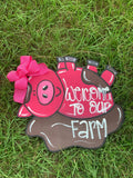 "20"" Pig in mud door hanger - welcome to our farm door hanger - farmhouse - pig - door hanger - laser cut - layered Wood sign"