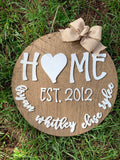 "20"" circle Home family eatablished - customized - family names - eatablished sign - layered sign - stained - laser cut - Rustic Magnolia Company"