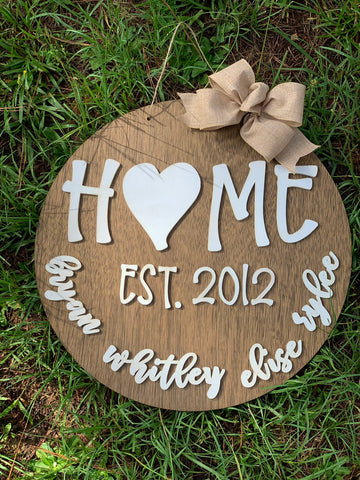 "20"" circle Home family eatablished - customized - family names - eatablished sign - layered sign - stained - laser cut"