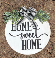 "20"" home sweet home door hanger - layered door hanger - home decor - greenery - Rustic Magnolia Company"