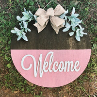 "20"" welcome door hanger - layered door hanger - home decor - greenery"