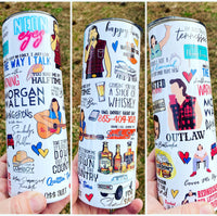 Morgan wallen collage  Stainless steel tumbler 20 ounce dangerous - wasted on you - 865 - sand in my boots