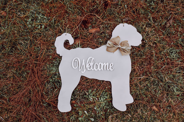 "20"" wood doodle golden doodle labradoodle dog door hanger sign laser cut door hanger Welcome"
