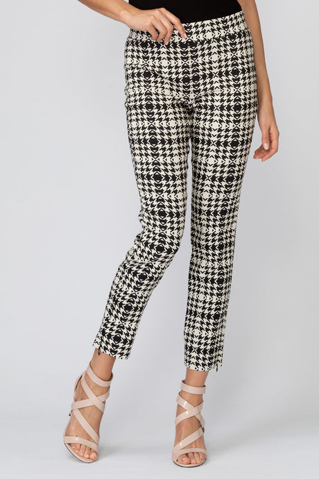 Villagallo Plaid Black Herringbone Pant with Removable Feather Trim