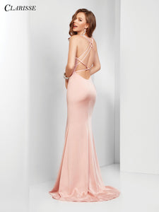 CLARISSE Blush Gown with Slit & open Back- 3456