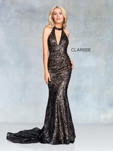 Load image into Gallery viewer, Clarisse Glamorous Black/ Nude Sequined Prom Dress - 3721