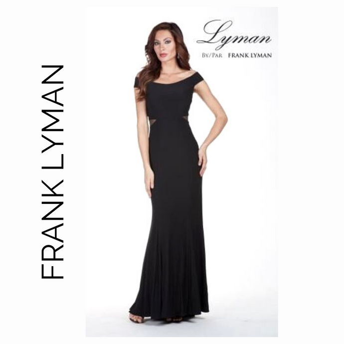 Frank Lyman Black Long Formal with Open Neck