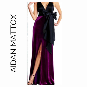 Aidan Mattox Black and Magenta Velvet Long Formal with Bow