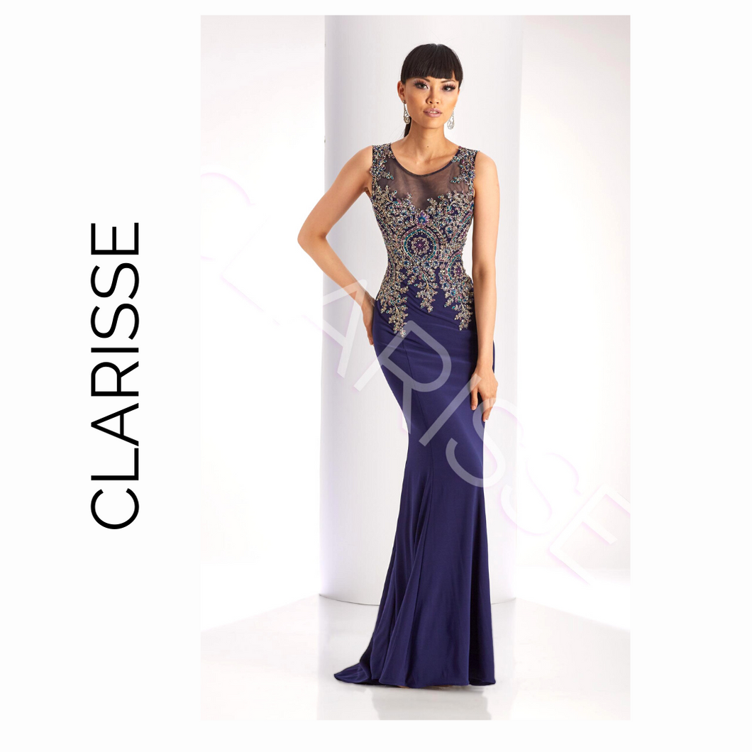 CLARISSE Navy Multi Colored Stitching with Mesh Neckline