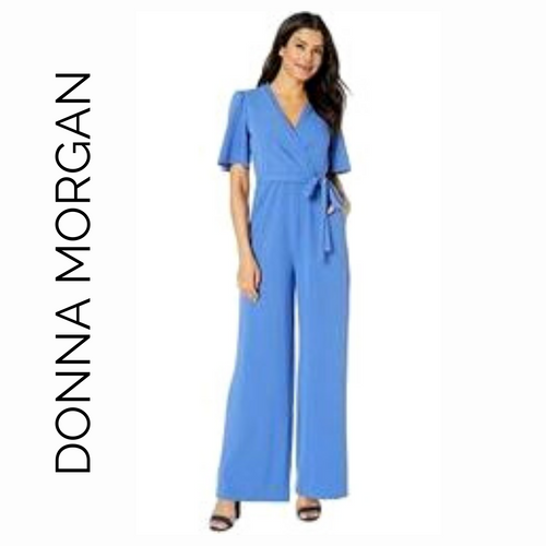 Donna Morgan Blue Jumpsuit with Flutter Sleeves