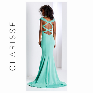 Clarisse Mint Cap sleeve Open Back Prom Dress