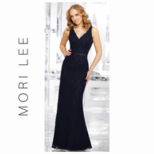 Load image into Gallery viewer, MORI LEE Navy Lace Bridesmaids Dress with Matching Tie Sash 21516