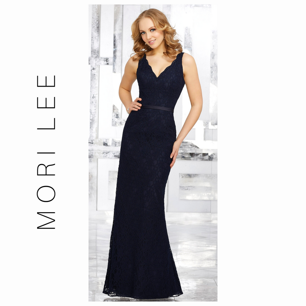 MORI LEE Navy Lace Bridesmaids Dress with Matching Tie Sash 21516
