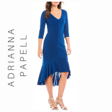 Load image into Gallery viewer, Adrianna Papell Pintucked Flounce Hem Hi-Low Hem Jersey Midi Dress