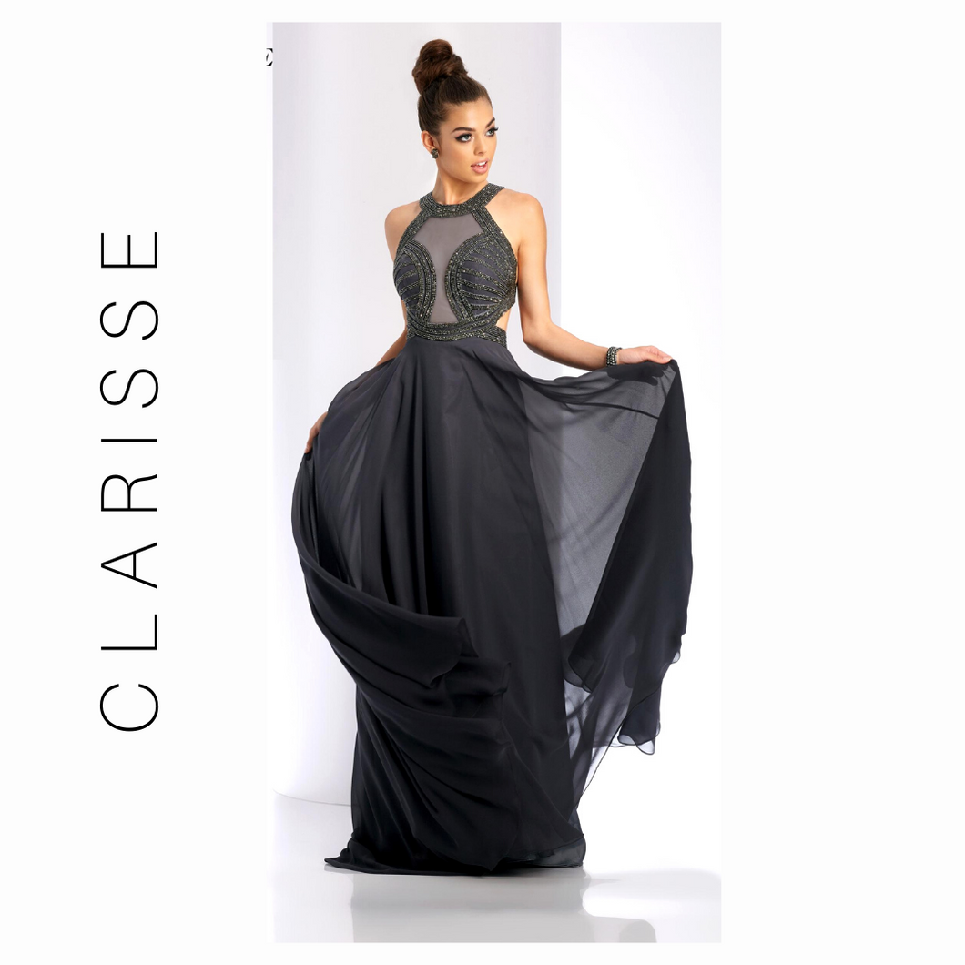 Clarisse Charcoal Gray Sparkle Bodice & Chiffon Dress