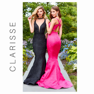 Clarisse Fuchsia Fit & Flare Brocade Gown