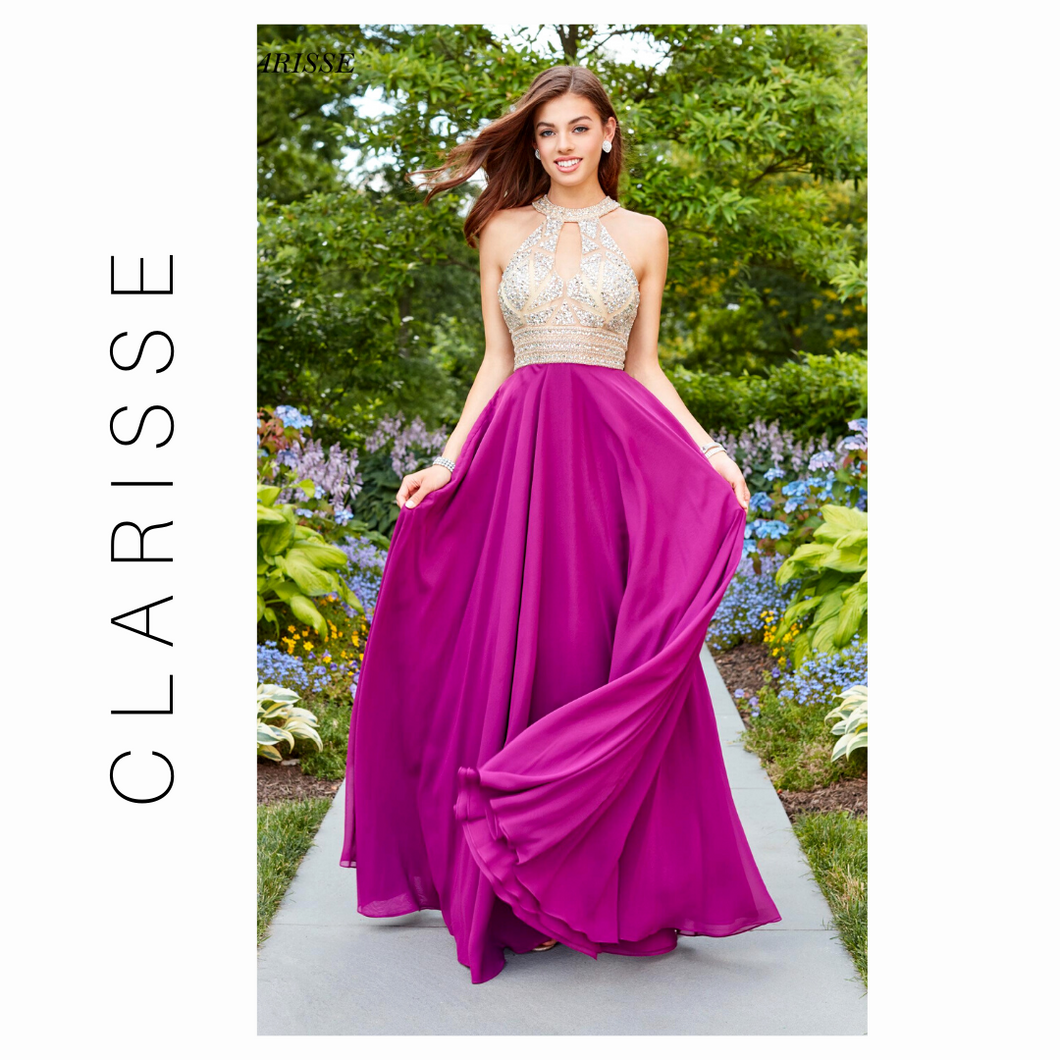 CLARISSE GEO-EMBELLISHED HALTER CUTOUT GOWN- Mulberry Purple