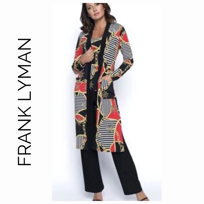 Frank Lyman Red Black Gold Nautical Duster 190717