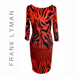 Frank Lyman Red & Black Printed Dress 195372