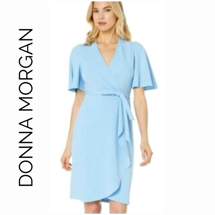 Donna Morgan Light Baby Blue Faux Wrap Crepe Dress